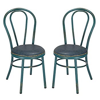 Home's Art Round Vintage-Style Shabby Chic U-Back Dining Chair With Full Back And PU Cushion, Antique Green (SET OF 2) Seat Height: 18 inches