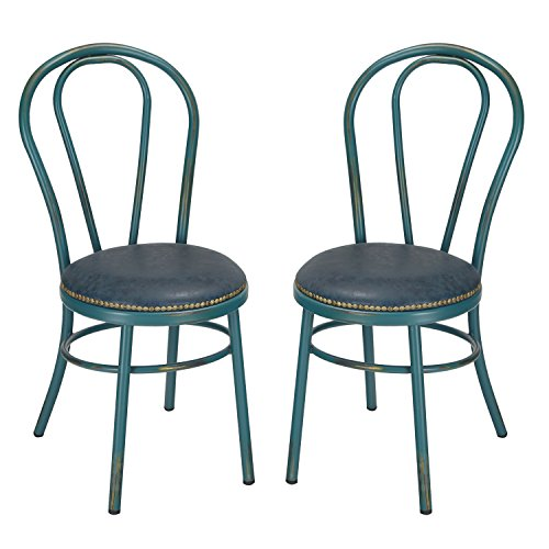Homes Art Round Vintage Style Shabby Chic U Back Dining Chair With Full And PU Cushion Antique Green SET OF 2 Seat Height 18 Inches