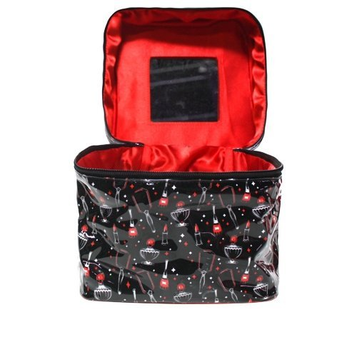 Black Vintage Beauty with Lipstick, Nail Polish, Perfume, and Mirror Pattern with Red Handle Train Case from Sourpuss Clothing
