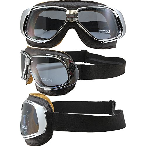 Nannini Rider Padded Motorcycle Goggles Hand-Sewn Leather Brown/Chrome Frames Grey Anti-Fog Lenses ()