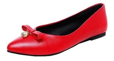 AgooLar Damen Niedriger Absatz Rein Schließen Zehe Ziehen auf Stiefel, Rot, 40