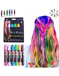Hair Chalk Pens, LAWOHO 6 Colors Temporary Hair Chalks Salon, Non-Toxic Washable Hair Dye Colors for Halloween Christmas Birthday Party, Cosplay, Concert, Gifts for Girls Kids & Adults