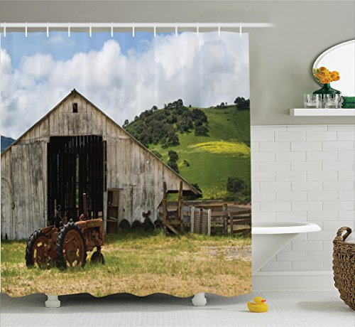 Ambesonne Farm House Decor Collection, Old Wooden Barn with Rusted Tractor on Hillside Enclosed with Wooden Fence and Trees, Polyester Fabric Bathroom Shower Curtain, 75 Inches Long, Green (Long Farm Tractors)