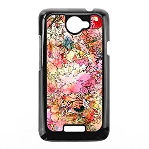 Colorful Watercolor Floral Pattern Abstract S HTC One X Cell Phone Case Black LMS3882718