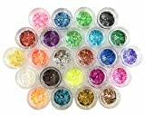 Glitter Powder Sequins for Slime ,Arts & Crafts Extra Solvent Resistant Glitter Powder Shakers,Assorted Colors,24 pack sequins