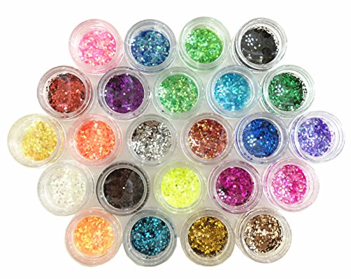 Glitter Powder Sequins for Slime,Arts & Crafts Extra Solvent Resistant Glitter Powder Shakers,Assorted Colors (24 Pack Sequins)