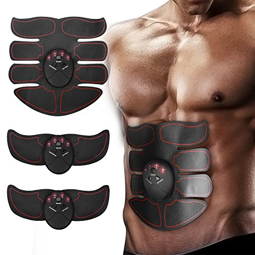 Ankuka Abdominal Muscle Toner, ABS Stimulator Portable Muscle Toning Trainer Belt for Abdomen/Arm/Leg Training, Gym Workout Home/Office Men Women Fitness Equipment (Black/Orange)