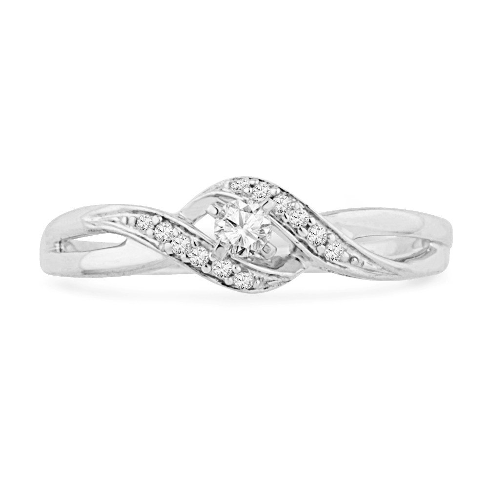 10KT White Gold Round Diamond Twisted Promise Ring (0.12 cttw) by D-GOLD