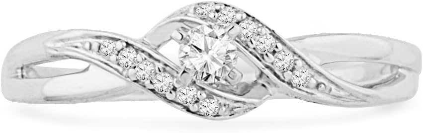10KT White Gold Round Diamond Twisted Promise Ring (0.12 cttw)