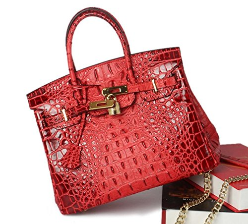Vintage Alligator Birkin Style Bag Purse Tote Handbag (Red, 35cm - L) by PRISTINE&BB (Image #2)