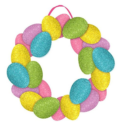 Amscan Egg-Stra Special Easter Egg Wreath Sign Party Decoration (1 Piece), Multicolor, 14 1/2