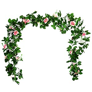 SHACOS 24 Strands Artificial Greenery Garland,Fake Vine Leaves Décor English Ivy Plants for Wedding Party Home Indoor Outdoor Decorations 5