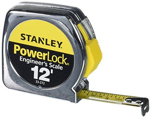Stanley 33-272 12-by-1/2-Inch Heavy-Duty Powerlock Engineer's Scale Tape Rule with Metal Case (Machinist Tape Measure)