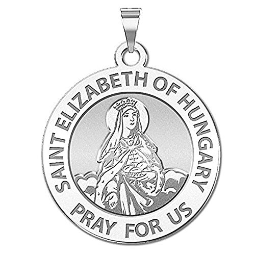 Gold Saint Elizabeth Medal - Saint Elizabeth of Hungary Religious Medal - 2/3 Inch Size of Dime, Sterling Silver
