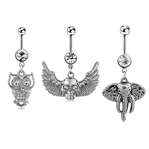 HoBST Body Piercing Jewelry Sexy Dangle Belly Button Rings Owl Elephant Skull Ring Set