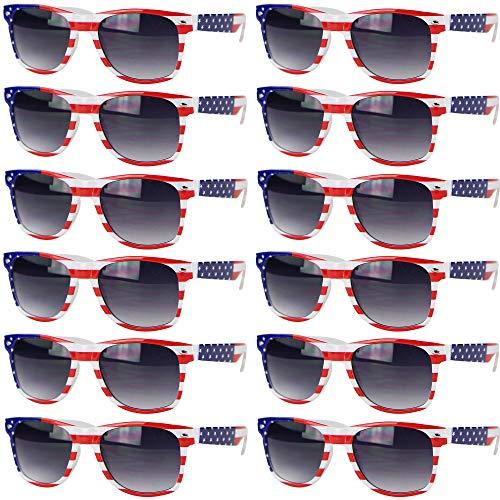 UB Eyewear USA American Flag Patriotic Sunglasses (Stripes, 12 Pack) -