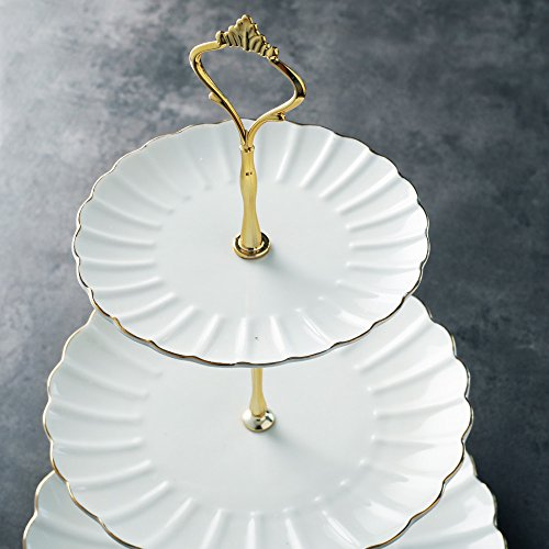 Pukka Home 3 Tier Ceramic Cake Stand British Royal Series Wedding Dessert Cupcake Stand for Tea Party Serving Platter (Pure White) by Pukka Home (Image #2)
