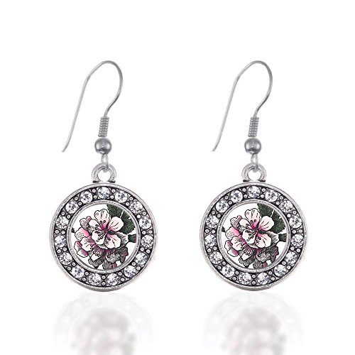 Charm Earrings French Hook Clear Crystal Rhinestones (Apple Blossom)