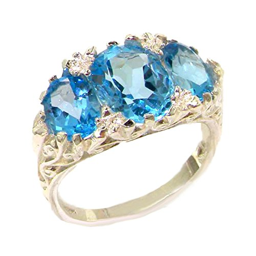 925 Sterling Silver Natural Blue Topaz Womens Trilogy Ring - Size 10.75