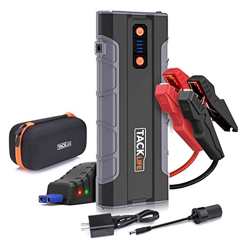 Quick Jump Starter - Tacklife T8 MAX 12V 1000A Peak 20000mAh Car Jump Starter (All Gas, up to 6.0L Diesel Engine), Auto Battery Jumper, Portable Power Pack with Quick-charge, Cigarette Lighter Adapter, Smart Jumper Cables