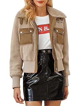 BerryGo Women's Fashion Faux Fur Jacket Turn Down Collar Outwear Coats Khaki,L