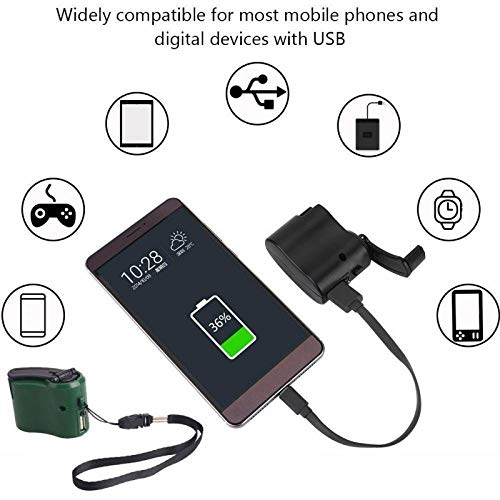H&Living EDC USB Phone Emergency Charger for Camping Hiking Outdoor Sports Hand Crank Travel Charger Camping Equipment Survival Tools (l) by H&Living (Image #5)