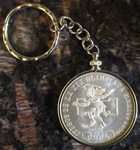 (1968 Mexico Silver 25 Pesos Olympics*Brilliant Uncirculated* Coin Key Chain)