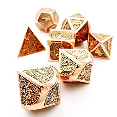 HAOMEJA Metal Flash Powder DND Dice Set 7pcs D&D Dice for Dungeons and Dragons Pathfinder RPG Gameplay Dice (Gold Silver): Sports & Outdoors