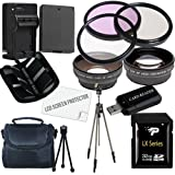Canon T3 and T5 Accessory Saver Kit (58mm Wide Angle Lens + 58mm 2X Telephoto Lens + 58mm 3 Piece Filter Kit + 32GB SDHC Memory + Extended Life Battery + Ac/Dc Charger + USB Card Reader + Deluxe Camera Case w/Strap + Full Size Tripod + Microfiber Cleaning Cloth + LCD Screen Protectors + Mini Tripod