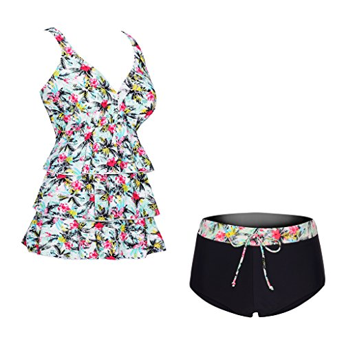 COCOPEAR Two Piece Tankini Swimsuit Floral Pint Plus Size Swimwear(FBA),Hawaii Floral,X-Large / 12-14