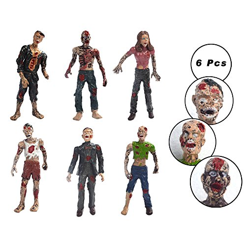 X Hot Popcorn 6 Pcs Plastic Figure Zombie Walking Dead Action Figure, for Kids Toys