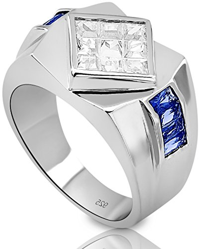 Channel Set Cubic Zirconia Stone (Men's Sterling Silver .925 Ring with Invisible Set Diamond Shaped Center Cubic Zirconia Stone and Blue Channel Set Cubic Zirconia Stones, Platinum Plated. Size,)