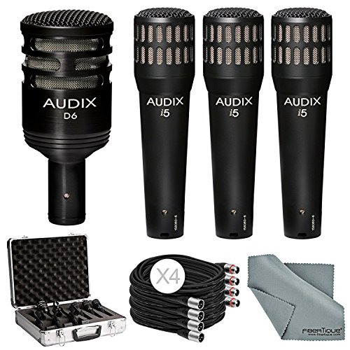 Audix DP4 Instrument Mic Pack with 3x i5 Mic + D6 Mic + Bundle with Cable & FiberTique Cloth by Photo Savings