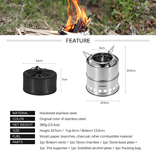 Lixada portable stainless steel lightweight wood stove
