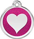 Red Dingo Stainless Steel & Glitter Enamel Heart Dog ID Tag (Hot Pink, Medium)