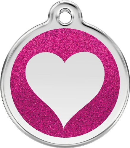 Red Dingo Stainless Steel & Glitter Enamel Heart Dog ID Tag (Hot Pink, Small)