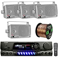PYLE PT260A 200-Watt 2-Channel Digital AM/FM Stereo Amplifier Receiver Bundle Combo With 4x 3.5 Inch 200 Watt 3-Way Silver Weather Proof Mini Box Speaker System, Enrock 50 Foot 16g Speaker Wire