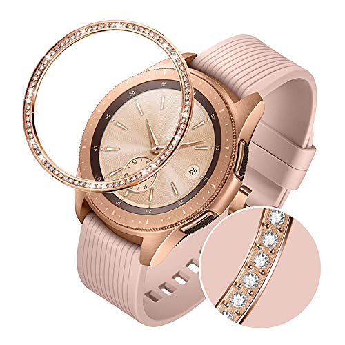 TRUMiRR Bezel Ring Compatible with Samsung Galaxy Watch 42mm Women Rose Gold Stainless Steel & Rhinestone Diamond Adhesive Cover Anti Scratch Protection Metal Case