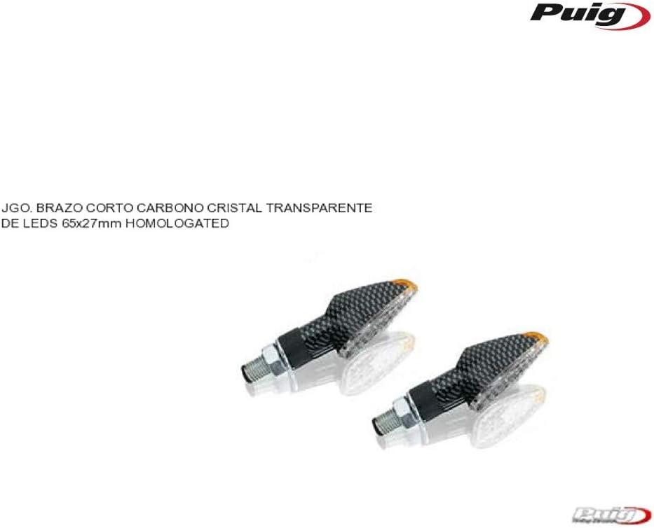 Puig 4493C LED Turn Signal Peak Short Stem and Clear Lens 65 x 27 mm Set of 2 Carbon Base