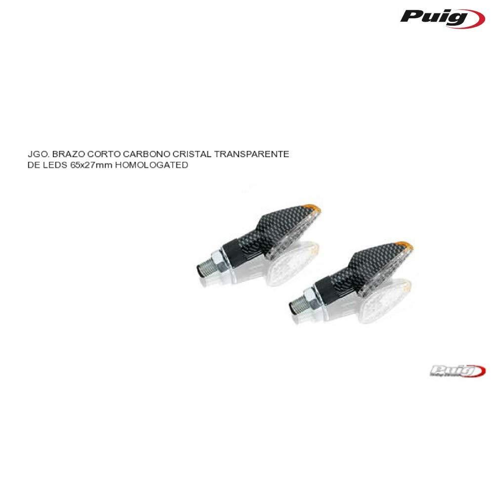 65/x 27/mm Carbon Boden Set von 2 Puig 4493/C LED Blinker Peak kurzer Stiel und Clear Lens