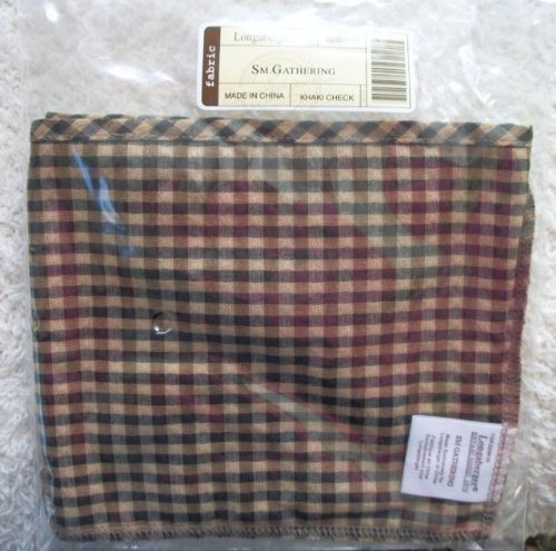 Longaberger Small Gathering Basket Khaki Check Color Fabric Over Edge Style Liner