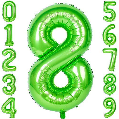 40 Inch Large Number Balloons Green Mylar Foil Big Number 8 Giant Balloon Birthday Party Decoration -