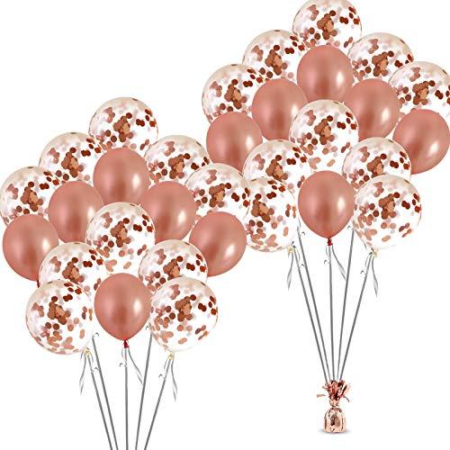 Rose Gold Confetti Balloons Set- 32 pcs Bachelorette Party Decorations for Bridal Showers, Wedding, Engagement Decor & Birthday Parties - Premium Large 18