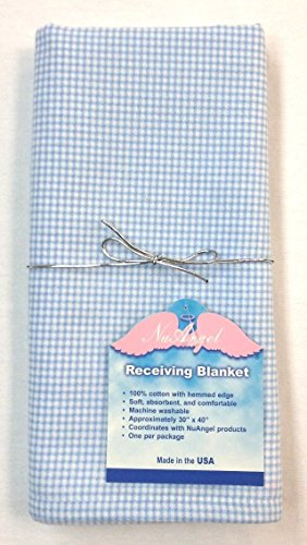 NuAngel Receiving Blanket - 100% Cotton Flannel - Blue -