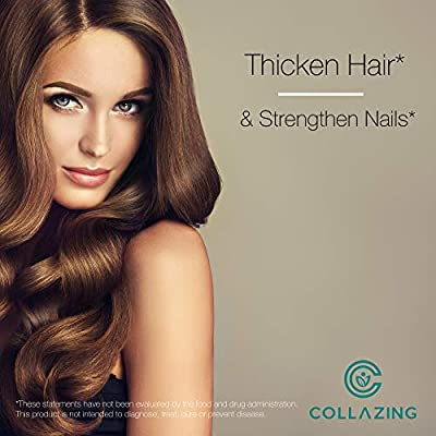 Collazing - Alaskan Wild-Caught Marine Collagen Peptides (Protein Type 1&3) + Hyaluronic Acid + Vitamin C, For Skin, Hair, Nails, Joint, Bones, Eyes, Unflavored-30 Days Supply