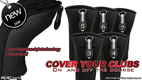 Black All Hybrid Headcover Set 3 4 5 6 7 Golf Club Covers Head Cover Neoprene Mesh 3-7 ()