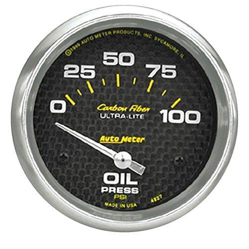 Auto Meter 4827 Carbon Fiber Electric Oil Pressure (Carbon Fiber Auto Oil Pressure Gauge)