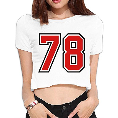 GBKEM 78 Sports Jersey Football Number Summer Crop Tops Street Sleeve Tee Bare Midriff Sexy Shirts