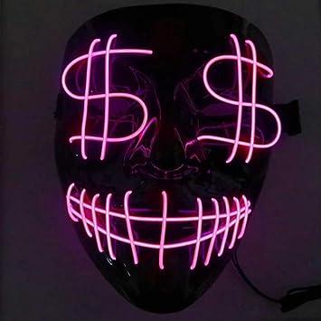 WENHAODJ Máscara Led Máscara de Miedo de Halloween Cosplay Traje ...