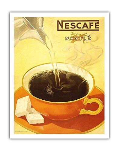 Pacifica Island Art Nescafé Nestlé - Instant Coffee - Vintage Advertising Poster by Viktor Rutz c.1930s - Fine Art Print - 11in x 14in